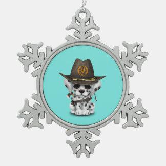 Chasseur dalmatien mignon de zombi de chiot ornement flocon de neige pewter
