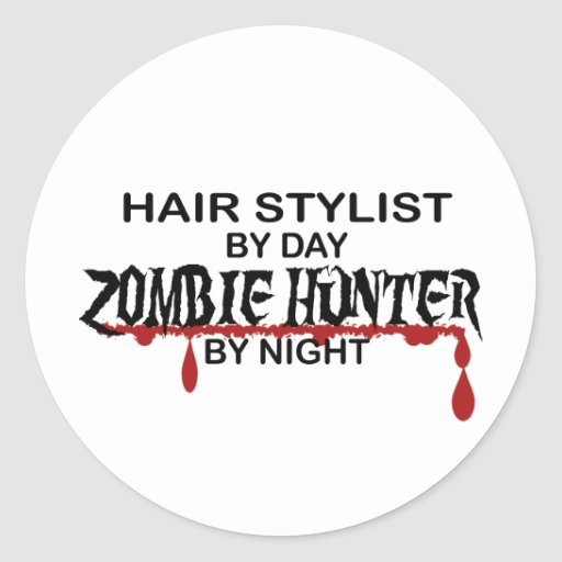 Chasseur de zombi de coiffeur autocollants ronds