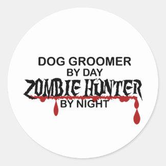 Chasseur de zombi de Groomer de chien Autocollants Ronds