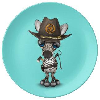 Chasseur de zombi de zèbre de bébé assiette en porcelaine