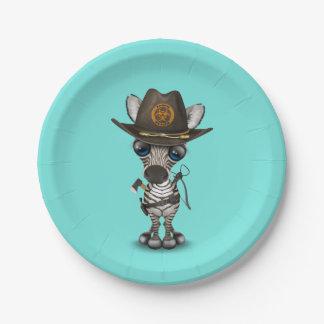 Chasseur de zombi de zèbre de bébé assiettes en papier