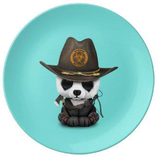 Chasseur de zombi d'ours panda de bébé assiette en porcelaine