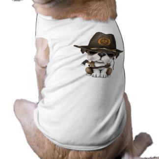 Chasseur mignon de zombi de chiot de bouledogue t-shirt