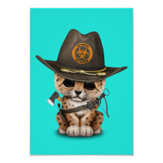 Chasseur mignon de zombi de CUB de léopard Carton D'invitation 8,89 Cm X 12,70 Cm