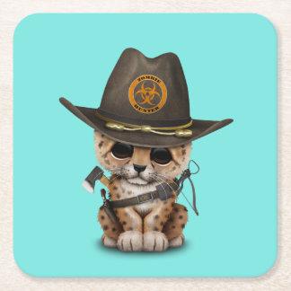 Chasseur mignon de zombi de CUB de léopard Dessous-de-verre Carré En Papier