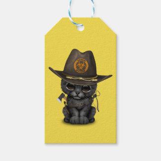 Chasseur mignon de zombi de CUB de panthère noire Étiquettes-cadeau