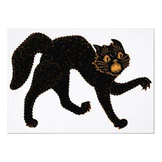 Chat 1920 noir effrayant carton d'invitation  12,7 cm x 17,78 cm