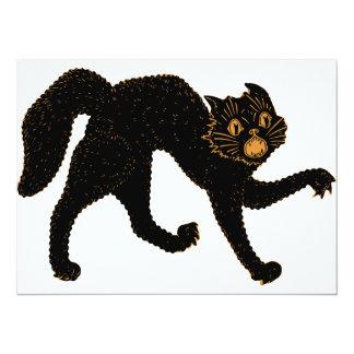 Chat 1920 noir effrayant carton d'invitation  13,97 cm x 19,05 cm