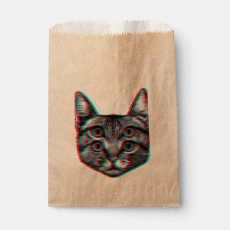 Chat 3d, 3d chat, chat noir et blanc sachets en papier