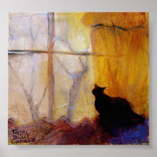 Chat la fen tre avec les rideaux jaunes poster zazzle for La fenetre san jose