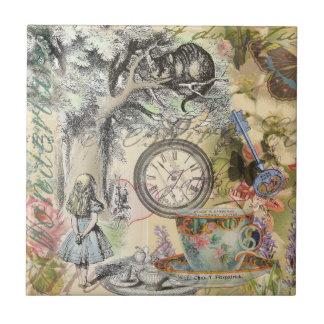 Chat Alice de Cheshire au pays des merveilles Petit Carreau Carré
