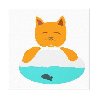 Chat au-dessus d'une copie de toile d'aquarium