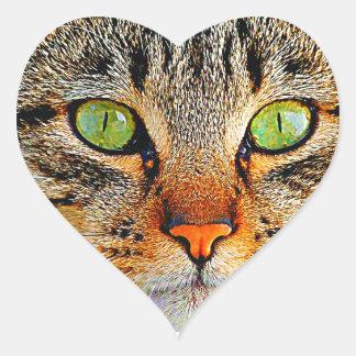 Chat aux yeux verts adorable sticker cœur