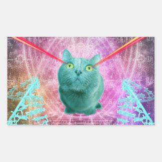 Chat avec des yeux de laser sticker rectangulaire