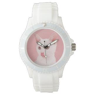 Chat avec le bol de lait montres bracelet