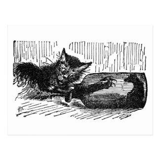 Chat avec le bras dans la bouteille après souris carte postale