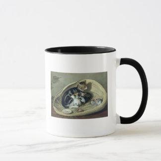 Chat avec ses chatons dans un panier, 1797 tasses