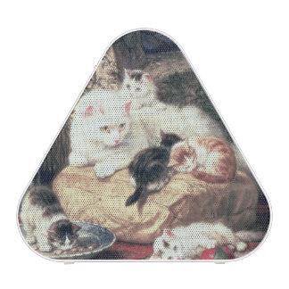 Chat avec ses chatons sur un coussin haut-parleur bluetooth