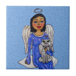Chat blanc d'ange d'yeux bleus d'ange d'art carreau
