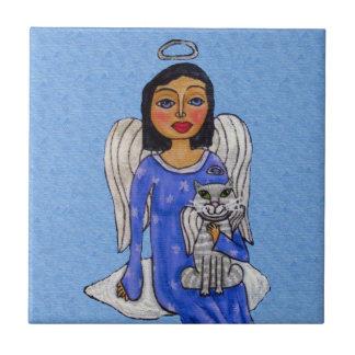 Chat blanc d'ange d'yeux bleus d'ange d'art petit carreau carré