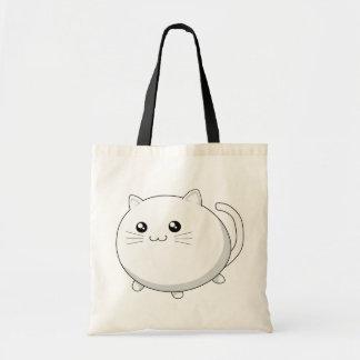 Chat blanc de minou de kawaii mignon sac en toile