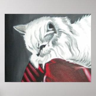 Chat blanc de stupéfaction paresseuse d impression affiches