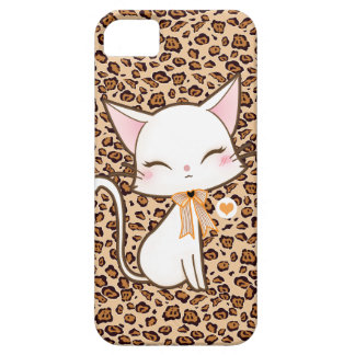 Chat blanc mignon de Kawaii sur l'arrière - plan iPhone 5 Case
