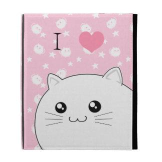 Chat blanc mignon de minou de Kawaii Étui iPad Folio
