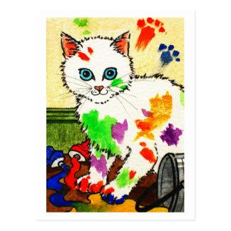 Chat blanc obtenant des peintures partout cartes postales