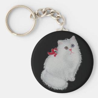 Chat blanc porte-clé rond