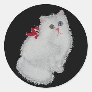 Chat blanc sticker rond