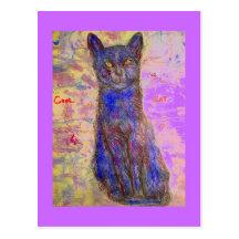 chat bleu frais cartes postales