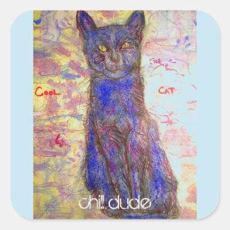 chat bleu frais sticker carré