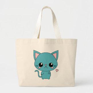 Chat bleu mignon de Kawaii Sacs De Toile