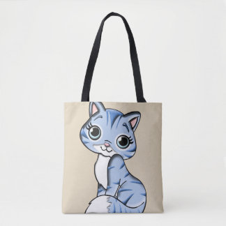 Chat bleu tote bag