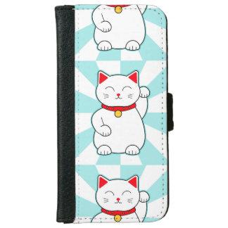 Chat chanceux blanc coque avec portefeuille pour iPhone 6