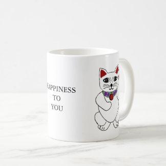 """Chat chanceux de Neko """"bonheur à vous"""" tasse"""
