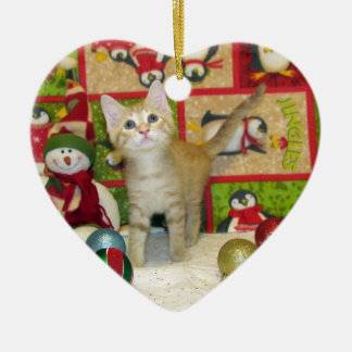 Chat, chaton, Noël, délivrance, photo Ornement Cœur En Céramique