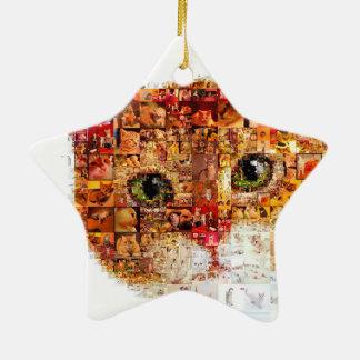 Chat - collage de chat ornement étoile en céramique