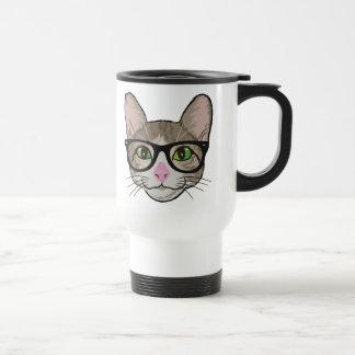 Chat coloré de hippie mug de voyage