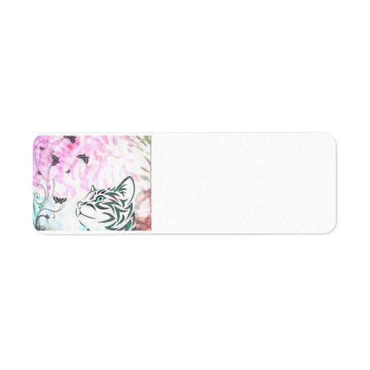 Chat coloré étiquette d'adresse retour