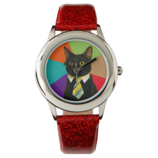 chat d'affaires - chat noir montres