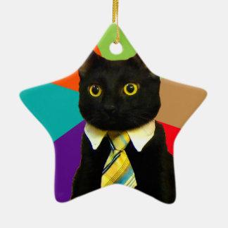 chat d'affaires - chat noir ornement étoile en céramique