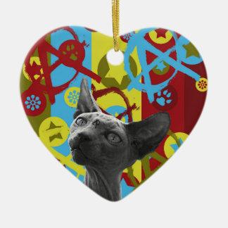 Chat d'anarchie ornement cœur en céramique