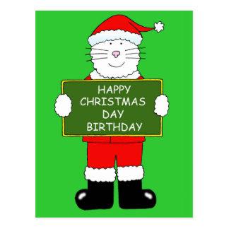 Chat d'anniversaire de jour de Noël dans Cartes Postales