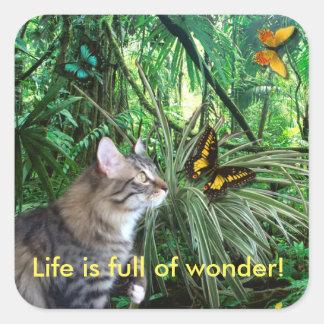 Chat dans des autocollants de jungle