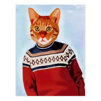 Chat dans le chandail de ski cartes postales