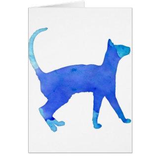 Chat d'aquarelle carte de vœux
