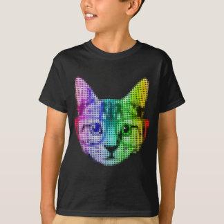 Chat d'art de bruit d'arc-en-ciel avec des verres t-shirt