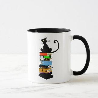 Chat de bibliothèque mug